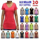 Women Basic Short Sleeve Stretch V NECK Plain Top Solid Color T Shirt S-3XL