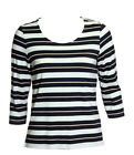 EX M&S Navy Stripe Jersey Stripe Top
