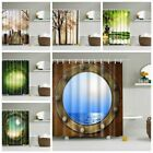Modern Waterproof Shower Curtain 3D Fabric Pattern Bathroom
