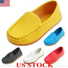 Kids Boys Girls Toddler Slip On PU Leather Flat Loafers Casual Comfy Boat Shoes