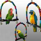Bird Parakeet Parrot Swing Lovebird Pet Toy Wood Budgie Colorful