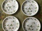 "Wedgwood Wild Strawberry Salad or Dessert Pllates, 8 3/4"", Four"