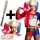 Harley Quinn + Wig + Bat Ladies Fancy Dress Villain Suicide Squad Womens Costume