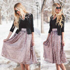 Women A-line High Waist Long Midi Sequin Skirts Flare Party Vintage Skater Skirt