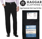 Men's Haggar Expandomatic Stretch Classic-Fit Comfort Waist Twill Pants Black