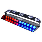 WOWTOU Emergency Strobe Dash Light Blue Red 16W 12 LED with 16 Flash Patterns