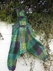 BAGGY HAREM DUNGAREES JUMPSUIT COTTON PATCHWORK GREEN MIX BNWT ETHNIC HIPPY ARTY