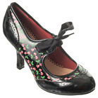 New Banned Black Red Cherries 50s Retro 3.5 Inch High Heel Stiletto Shoes 3-8