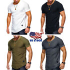 Mens Muscle Short Sleeve Round Neck Summer Casual Slim Fit T-Shirt Tops M-2XL US image