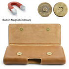 Horizontal Real Leather Universal Pouch Belt Case Cover Holster iPhone Samsung
