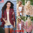 Women Summer Floral  Shawl Kimono Cardigan Tops Beach Cover Up Blouse Beachwear