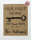 8x10 Our First Home / Burlap Print Sign UNFRAMED / CUSTOM Rustic Chic House Sign