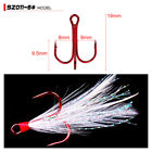 20pcs/Lot Treble Feather Fishing Hooks Red For Minnow Fishing Lures Crankbaits