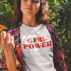 Girl Power T Shirt with Red Rose Flower Design