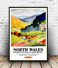 North Wales : Vintage Travel advert , poster, Wall art, poster, reproduction.