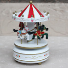 Wooden Carousel 4 Horse Merry-Go-Round Wind-Up Music Box Xmas Kids Gift Toy UK