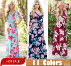 Womens Sexy Summer Floral Faux Wrap Long Dress Deep V Neck P