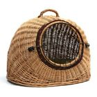 Cat Igloo Bed Basket Wicker Carrier Vet Travel Kitten House Cage Carrying Case