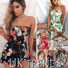 UK Womens Holiday Mini Playsuit Ladies Bandeau Summer Beach Dress Size 6 - 14