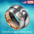 Couple's Matching Heart Ring, His and Hers Wedding Band Comfort Fit Promise Ring