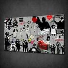 BANKSY CANVAS PRINT PICTURE GRAFFITI WALL ART HOME DECOR FREE FAST DELIVERY
