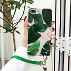 Tropical Forest Plant Fresh Leaf Lanyard Soft Case Cover for iPhone X 6 7 Plus 8