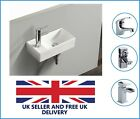 Left Hand Compact Small Square Wall Hung Cloakroom Ceramic Basin Sink 410x215mm