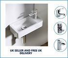 Right Hand Compact Small Square Wall Hung Cloakroom Ceramic Basin Sink 365x180mm