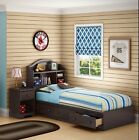 5 Piece Double Twin 3 Drawer Storage Bed Nightstand Set Home Bedroom Furniture