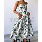 UK Womens Holiday Beach Long Button Ladies Summer Midi Floral Sun Dress Size6-20 <br/> =UK Same Day Dispatch=UK Next Day Delivery Available=