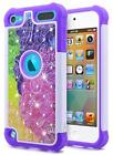 For iPod Touch 5th - 6th - 7th Gen Glitter Bling Hybrid Bumper Phone Cover Case