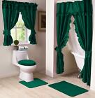 NEW Hunter Green Double Swag Shower Curtain with Liner & Tiebacks