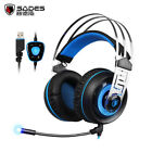SADES A7 7.1 Surround Sound Gaming Wired Headset USB Luminous Headphone with Mic
