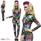 Ladies Day of the Dead Costume Catsuit Sugar Skull Womens Halloween Fancy Dress