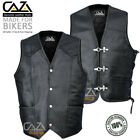 Mens Real Leather Biker Waistcoat Braided Fish Hook Buckle Side Laced Black Vest