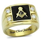 MEN'S GOLD TONE STAINLESS STEEL CUBIC ZIRCONIA MASONIC RING - SIZE 8, 9,12