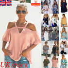 UK Womens Summer Casual Short Sleeve Blouse Ladies Loose T Shirt Tops Plus Size
