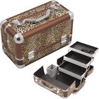 Leopard Printing Texture 3-Tiers Extendable Trays Professional Cosmetic Makeu...