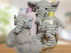 Taljh Gray Baby Sock Monkey Elephant Set and Bath Wash Gift Basket
