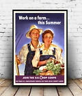 Work on a Farm : Vintage USA war time , poster, Wall art, reproduction.