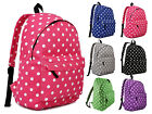 Back To School Girls Polka Dot Spot Backpack Rucksack Bag PE Gym Sports Trip Bag