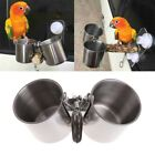 Food Water Feeding Bird Double Cups With Clip Stainless Steel Parrot Cage Stand