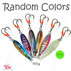 1 to 20pcs 100g Flat Fishing Fall Vertical Speed Knife Jigs Random Color lot