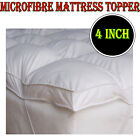 """4 inch LUXURY MICROFIBER MATTRESS TOPPER DEEP SINGLE DOUBLE KING BED ALL SIZE 4"""""""