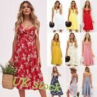 Womens Dresses Summer Tie Front Spaghetti Strap A-Line Backless Swing Midi Dress