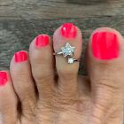 Sterling Silver CZ Star Toe Ring, Adjustable