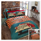 Rapport Retro Garage Car Reversible American Flag Duvet Cover Bedding Set