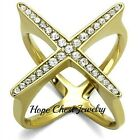 WOMEN'S GOLD TONE STAINLESS STEEL BIG X CRYSTAL COCKTAIL STATEMENT RING SZ 8, 9