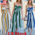 US Women Playsuit Ladies Strapless Bowknot Backless Striped Wide Leg Jumpsuits