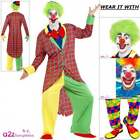 Mens La Circus Deluxe Clown Costume Adult Jester Carnival Fancy Dress Wig Outfit